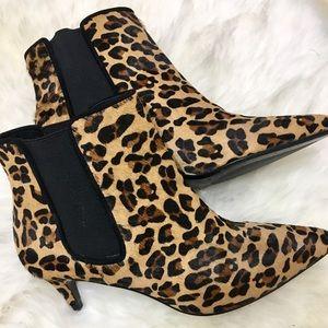 Zara Leopard Print Leather Booties